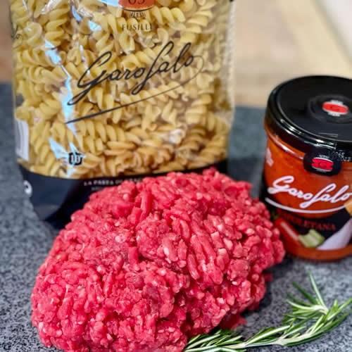 Mince Beef, Pasta Sauce & Pasta